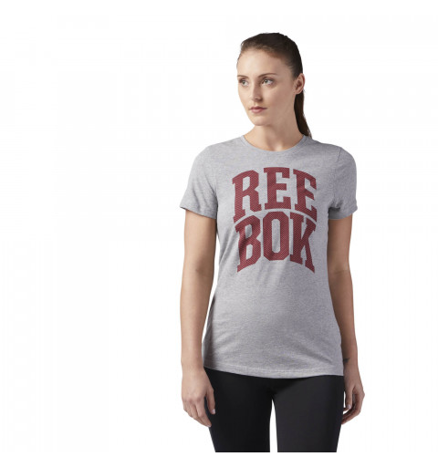 Camiseta Reebok w Mesh Crew Gris