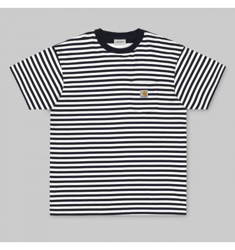 Camiseta Carhartt Barkley Pocket Navy-White