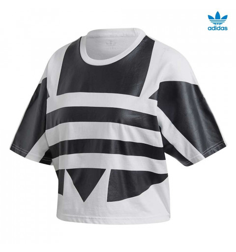 Camiseta Adidas W LRG Logo Blanca-Negra