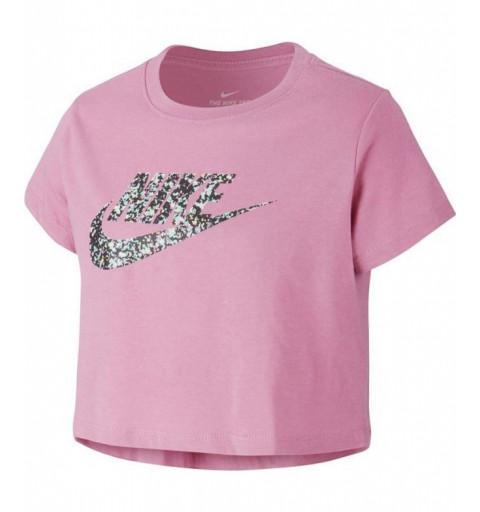 Camiseta Nike Niña NSW Crop JDI Futura Rosa