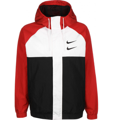 Chaqueta Nike Sportswear Swoosh Woven Roja-Negra