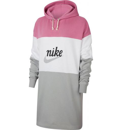 Sudadera Nike W NSW Varsity Rosa-Blanca-Gris