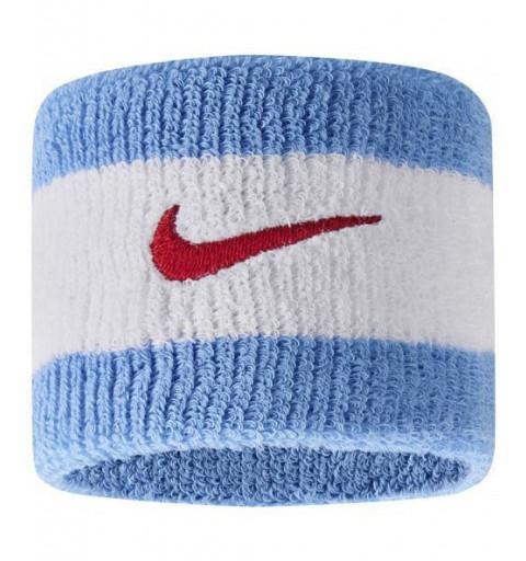 Muñequera Nike Swoosh Blanca-Celeste
