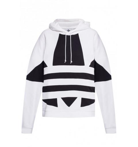 Sudadera Adidas Chica Logo Capucha Blanca-Negra