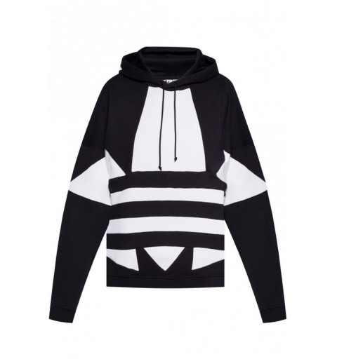 Sudadera Adidas Chica Logo Capucha Negra-Blanca