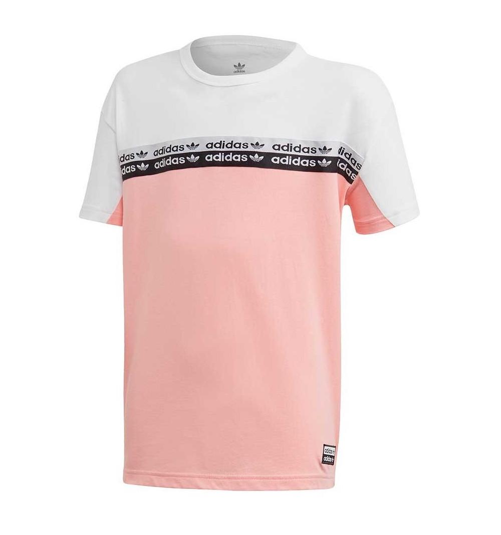 Dedicación Rosa Insistir  Camiseta Adidas Originals Niña Rosa-Blanca
